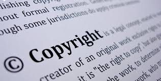 Copyright in a blsck and white text